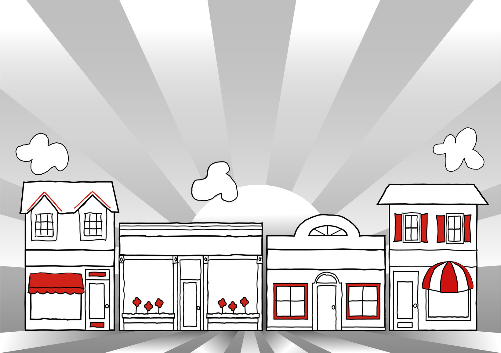 Store fronts drawn in cartoon